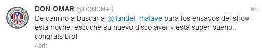 También, el cantante @DonOmar mandó un tweet en el que deja ver que Yandel ya trabaja como solista